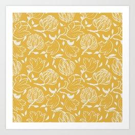 Yellow ocher floral pattern Art Print