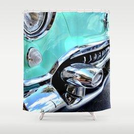 Turquoise Blue Vintage Car Shower Curtain