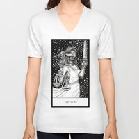tarot V-neck T-shirts featuring Justice Tarot by Corinne Elyse