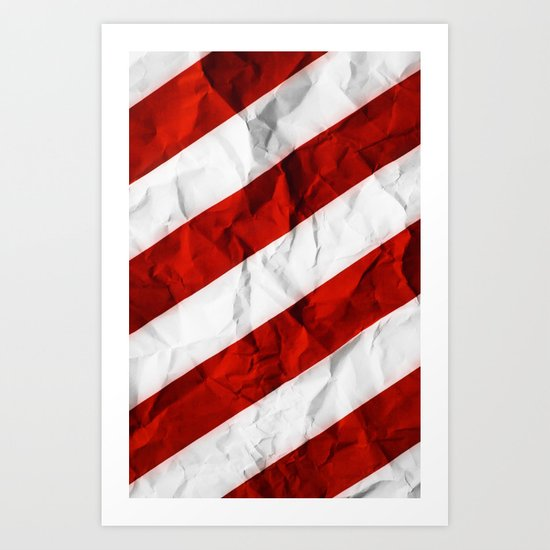 Crumbled Red Stripes Art Print