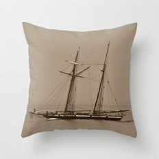 Wooden Tall ship sepia finish Throw Pillow