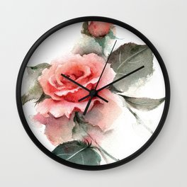Watercolor Pink Rose Wall Clock