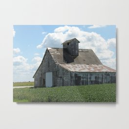 Big White Barn and Summer Clouds Metal Print