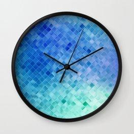 Blue Mosaic Pattern Wall Clock