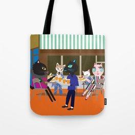 Brooklyn cafe Fashionista cats Tote Bag