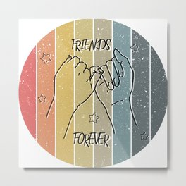 Friend forever doodle star retro sunset stripes grunge background hand drawn love concept couple art Metal Print