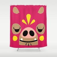 wrestling Shower Curtains featuring Wrestling Academy Bibi by TokyoCandies
