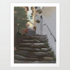 Italian Street and Stairs  Art Print