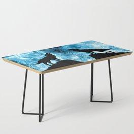 Howling Winter Wolf snowy blue smoke Coffee Table