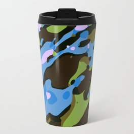 green blue and brown camouflage graffiti painting abstract background Travel Mug