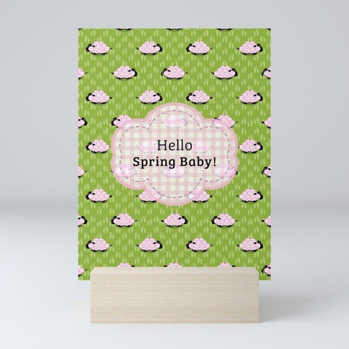 Pastel Sheep - Hello Spring Baby! Mini Art Print