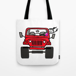 Jeep Wave Girl - Red Tote Bag