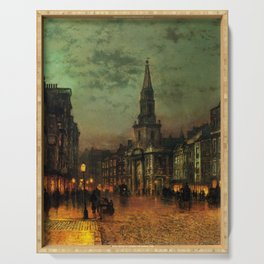 Classical Masterpiece 'Blackman Street, London' by John Atkinson Grimshaw Serving Tray