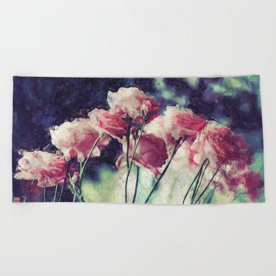 Pink Rose Flowers Beach Towel