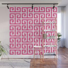 Large Pink and White Greek Key Pattern Wall Mural