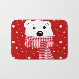 Muzzle of a polar bear on a red background. Bath Mat