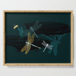Midnight Dragonflies Serving Tray