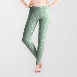 Great Dane floral silhouette dog breed pattern minimal simple mint and white great danes silhouettes Leggings