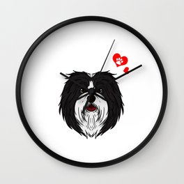 Love Havanese Dog Owner Paw Heart Gift Wall Clock