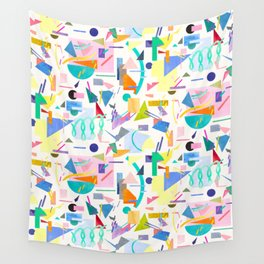 Geometric pop collage pattern Wall Tapestry