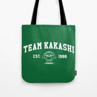 kakashi Tote Bags featuring Team Kakashi by Tsundere in the Sheets