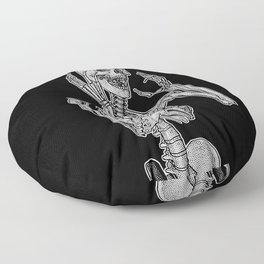 Skeleton screaming in horror Floor Pillow