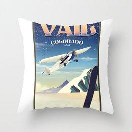 Vail Colorado vintage travel poste Throw Pillow