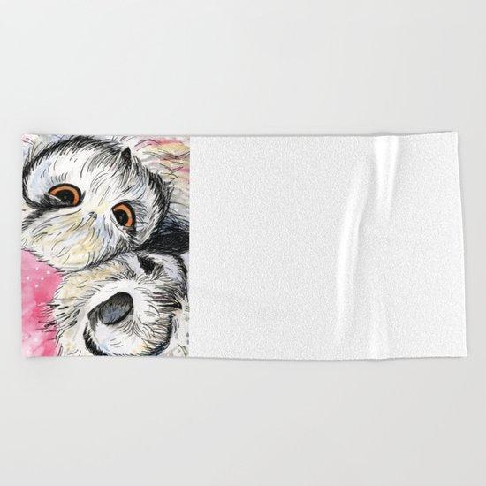 owl snuggles Beach Towel