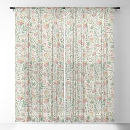 Swedish Floral - Cream Sheer Curtain
