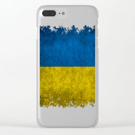 Flag-of-Ukraine-in-vintage-retro-style Clear iPhone Case