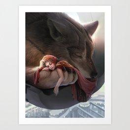 Futuristic Red Riding Hood Art Print