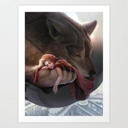 Futuristic Red Riding Hood Art Print