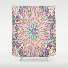 Purple Floral Kaleidoscope Abstract Shower Curtain