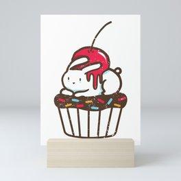 Chubby Bunny on a cupcake Mini Art Print
