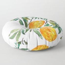 orange watercolor Floor Pillow