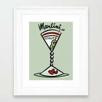 martini Framed Art Prints featuring Martini by Art In The Garage