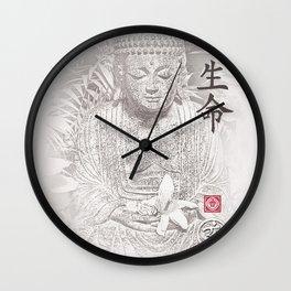 Find Your Bliss {Black & White} Buddha Art Print Wall Clock