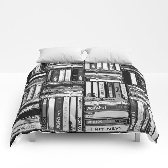 Music Cassette Stacks - Black and White - Something Nostalgic IV #decor #society6 #buyart Comforters