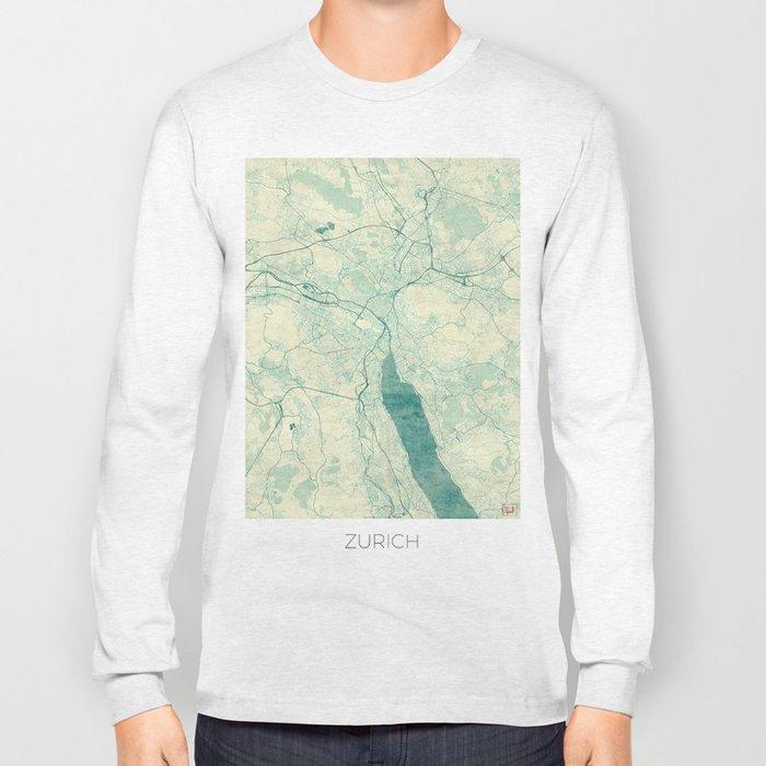 Zurich Map Blue Vintage Long Sleeve T-shirt