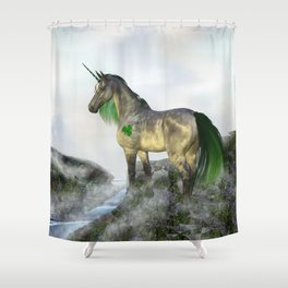 Shamrock The Unicorn Shower Curtain