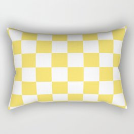 Yellow, Canary: Checkered Pattern Rectangular Pillow