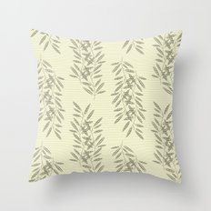Linen Leaves Throw Pillow