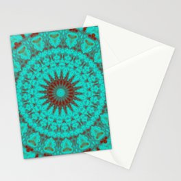 Mandala Fractal in Oxidized Copper 2 Stationery Cards