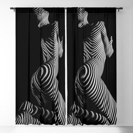 0721s-MM BW Fine Art Nude Tiger Striped Woman on Her Knees Blackout Curtain