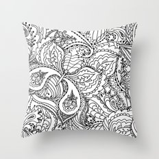 Black white hand painted watercolor butterfly abstract floral Throw Pillow