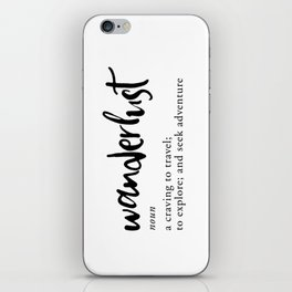 Wanderlust Definition - Minimalist Black Type iPhone Skin