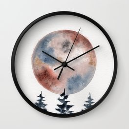 "watercolor ""Piemontite"" moon with pines Wall Clock"