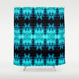 Turquoise Blue Black Diamond Gothic Pattern Shower Curtain