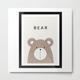 Cute hand drawn bear design Metal Print