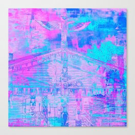 Totem Cabin Abstract - Hot Pink & Turquoise Canvas Print